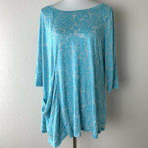 Chalet Blue Paisley Print Asymmetrical Blouse